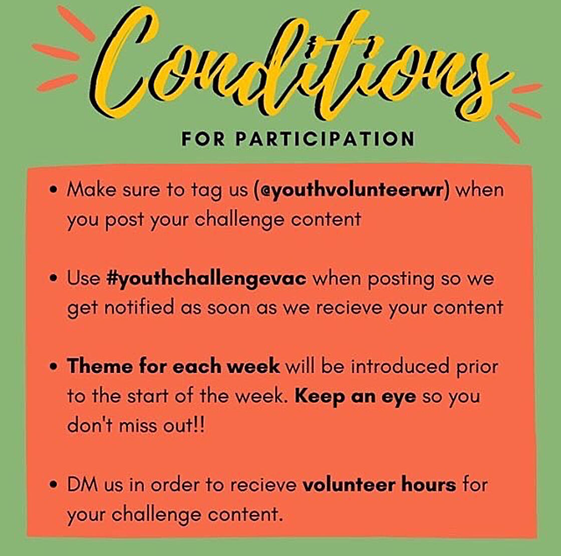 tag @youthvolunteerwr if you want to enter the youth challenge from VAC