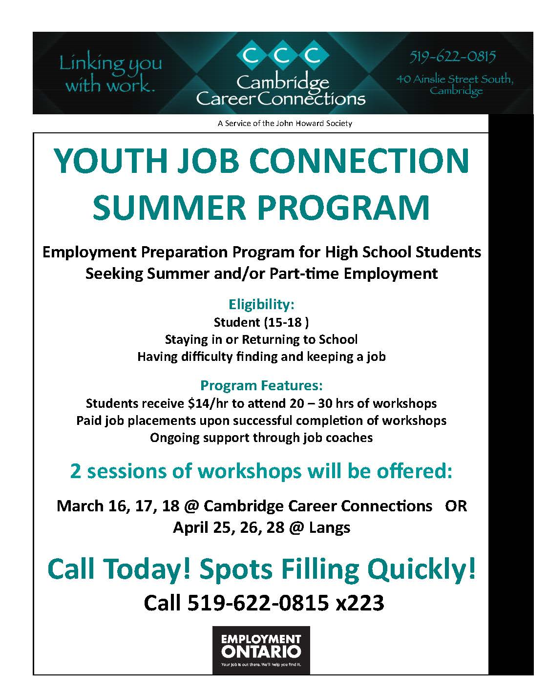 YOUTH JOB CONNECTION FLYER-SUMMER 2020